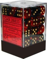 Chessex 36 12mm D6 Dice Block Black/Red/Gold Gemini 26833