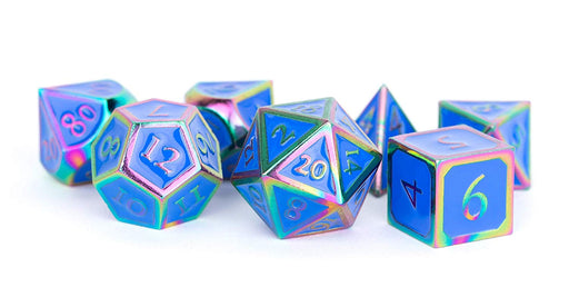 16mm Metal Polyhedral Dice Set: Rainbow with Blue Enamel