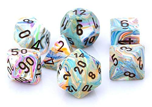 Chessex Polyhedral 7-Die Set Festive Vibrant w/Brown 27441