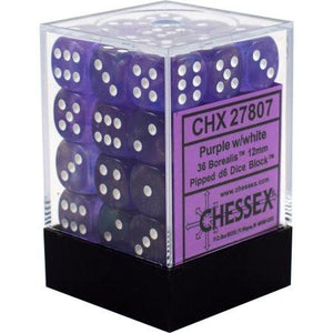 Chessex 36 12mm D6 Dice Block Borealis Purple w/White 27807