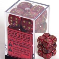 Chessex 12 16mm Pipped D6 Dice Block Vortex Burgundy w/Gold 27634