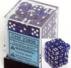 Chessex 36 12mm D6 Dice Block Translucent Blue w/White 23806