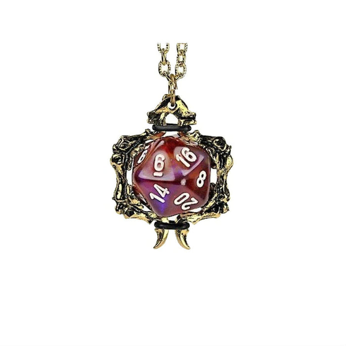 Dice Holder Jewelry: Bones Pendant D20 - Gold Finish