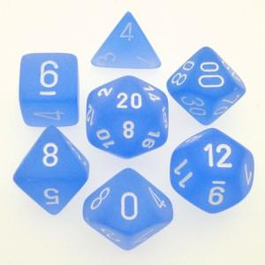 Chessex Polyhedral 7-Die Set Frosted Blue w/White 27406