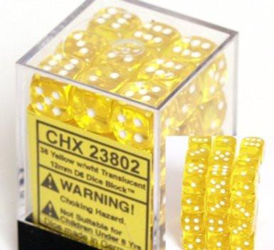 Chessex 36 12mm D6 Dice Block Translucent Yellow w/White 23802