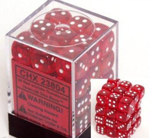 Chessex 36 12mm D6 Dice Block Translucent Red w/White 23804