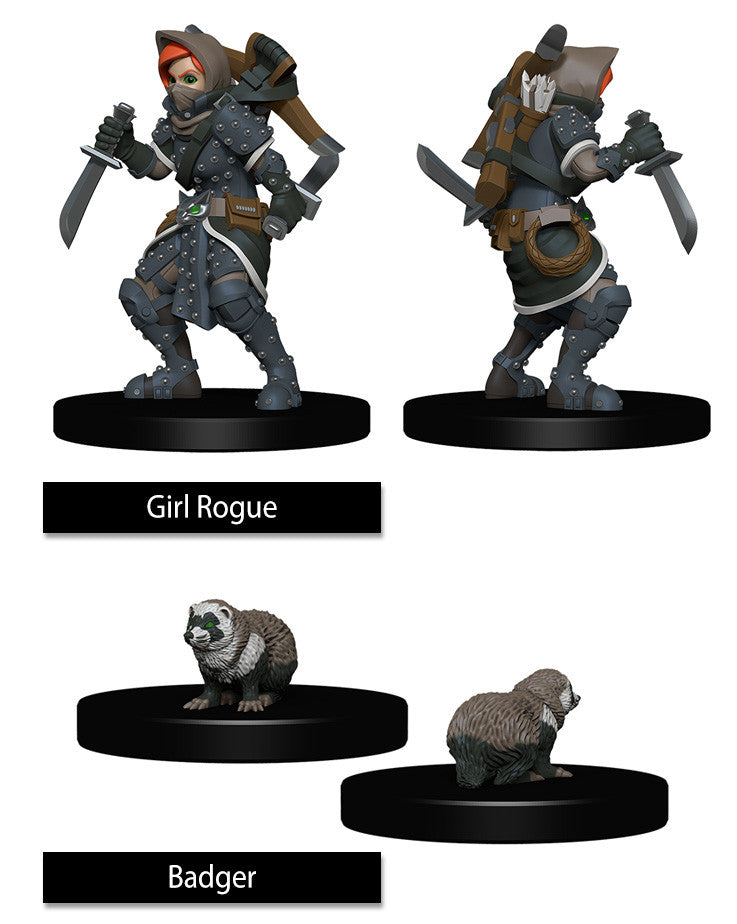 WizKids Wardlings: Girl Rogue & Badger