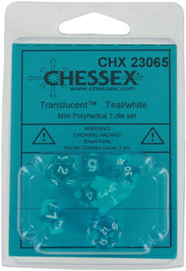 Chessex Translucent Teal w/ White Mini Polyhedral 7-die Set CHX 23065