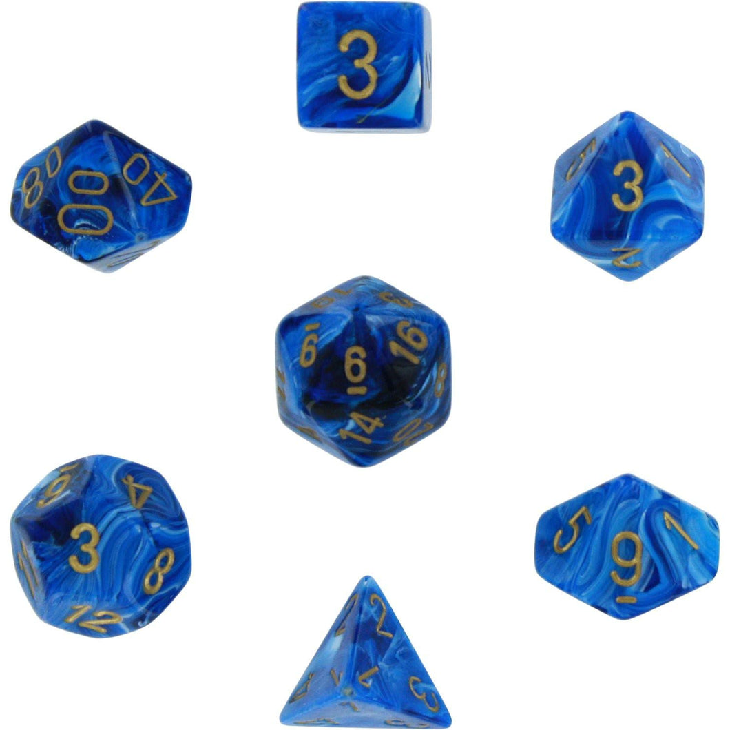 Chessex Polyhedral 7-Die Set Vortex Blue w/Gold 27436