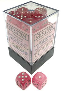 Chessex 36 12mm D6 Dice Block Ghostly Glow Pink w/Silver 27924
