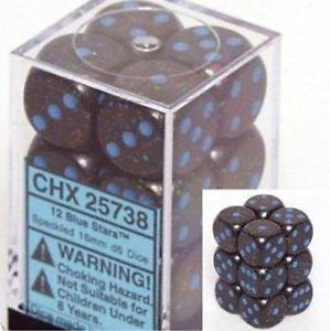 Chessex 12 Blue Stars d6 Speckled 16mm CH25738