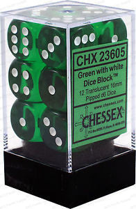 Chessex 12 16mm Pipped D6 Dice Block Translucent Green with White 23605