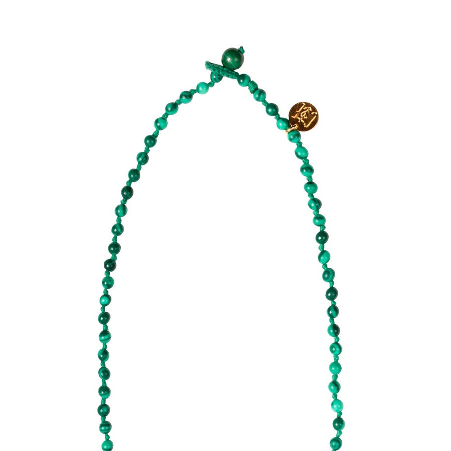 collier camille enrico broderie or malachite perles amulette médaille