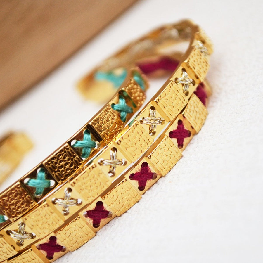 bracelet camille enrico broderie médaille or
