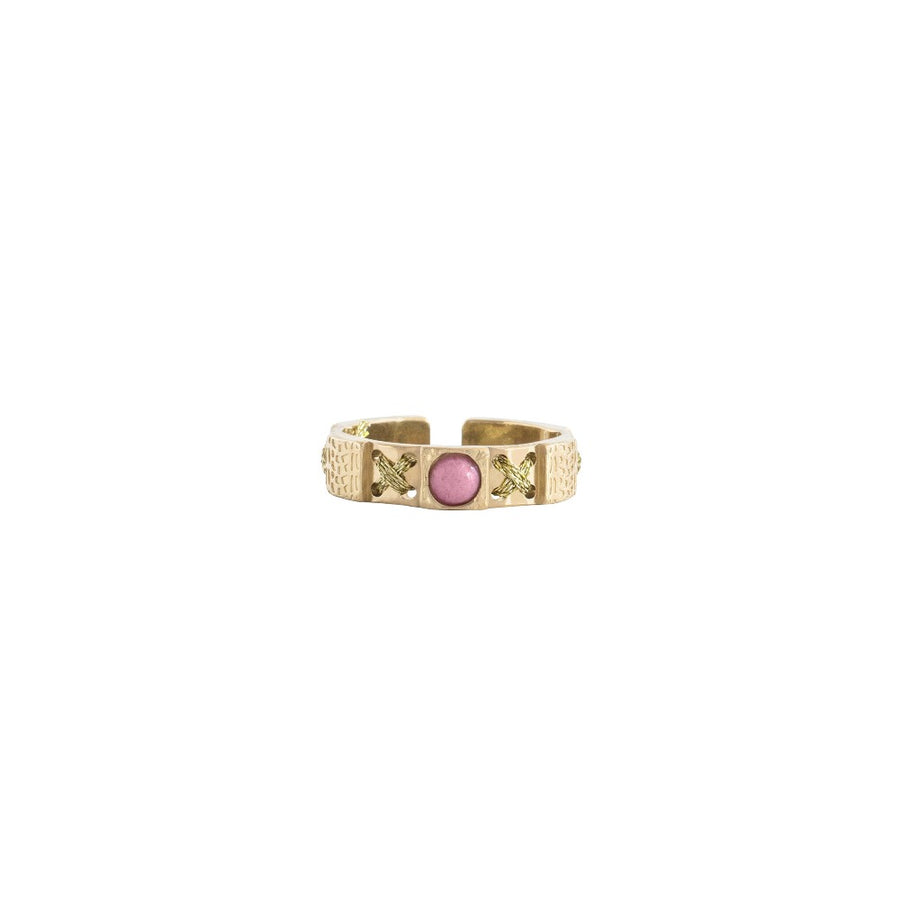 Bague Plata or fil de lurex gold rhodonite