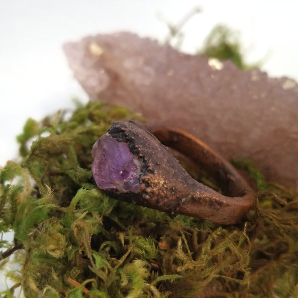 Rough Amethyst Electroformed Copper Ring, Size 8