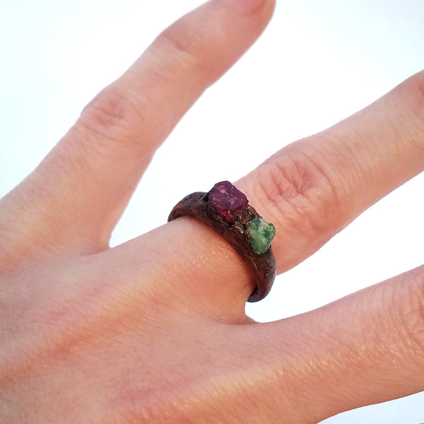 Emerald and Ruby Electroformed Copper Ring, Size 4