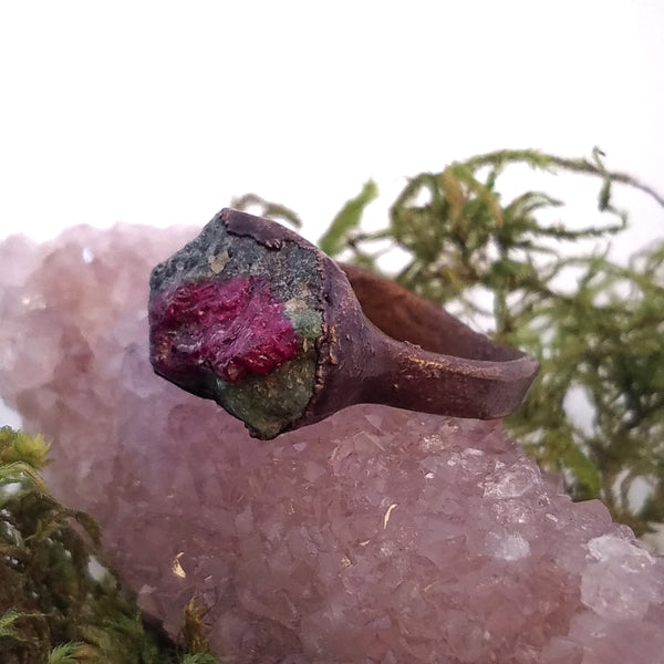 Ruby in Fuschite Gemstone Ring, Size 4.5