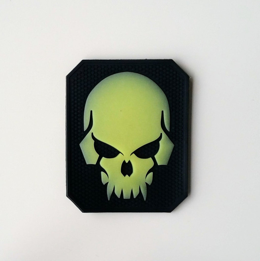 Scary Skull Morale Patch - White Glowing - Fishbone Airsoft Company