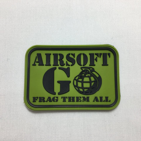 AIRSOFT GO FRAG THEM ALL Morale Patch - Green - Fishbone Airsoft Company