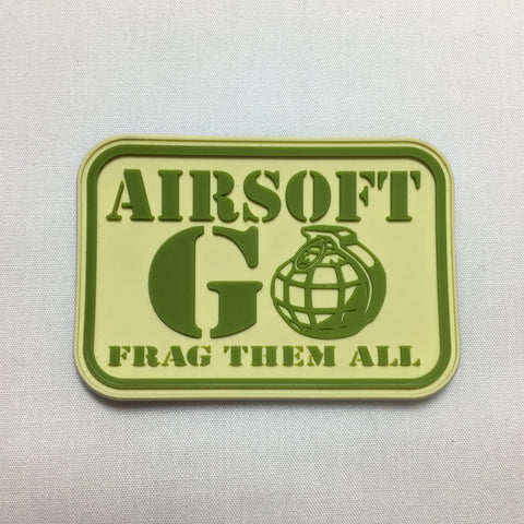 AIRSOFT GO FRAG THEM ALL Morale Patch - White - Fishbone Airsoft Company