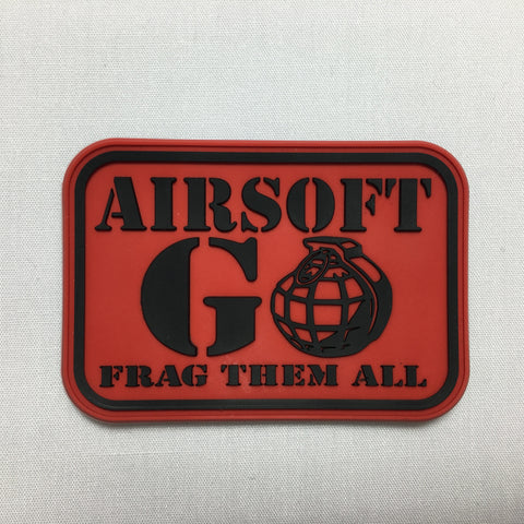 AIRSOFT GO FRAG THEM ALL Morale Patch - Red - Fishbone Airsoft Company