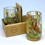 Hand blown drinking glass in rainbow confetti, set of 2 in a cardboard caddy
