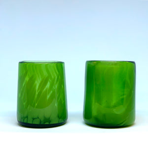 Hand blown drinking glass in green, made from recycled bottles. Single tumbler.