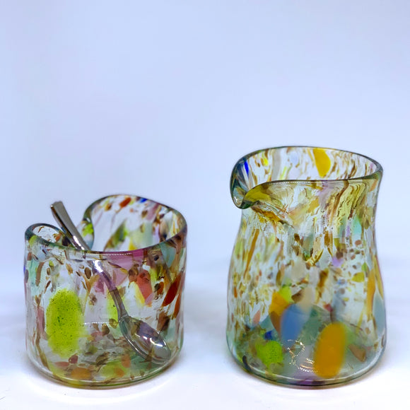 Hand blown creamer and sugar bowl set, made from recycled bottles, in rainbow confetti