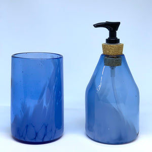 Hand blown glass soap set, recycled bottles