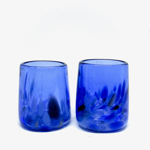 Hand blown drinking glass in cobalt blue, set of 2 tumblers in a cardboard caddy