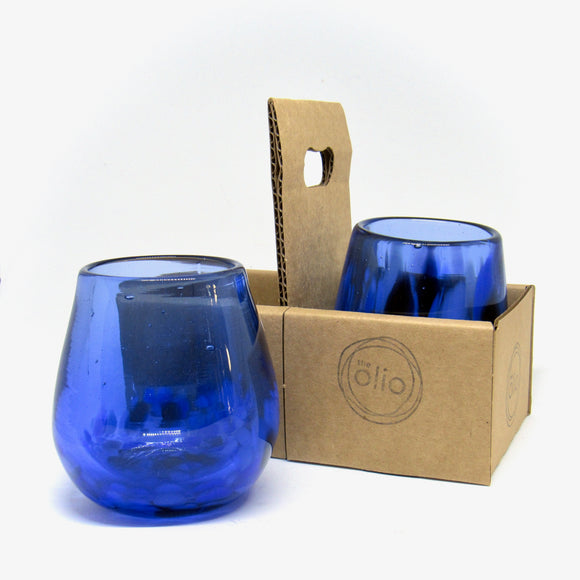 Hand blown wine glass in cobalt blue, set of 2 glasses in a caddy