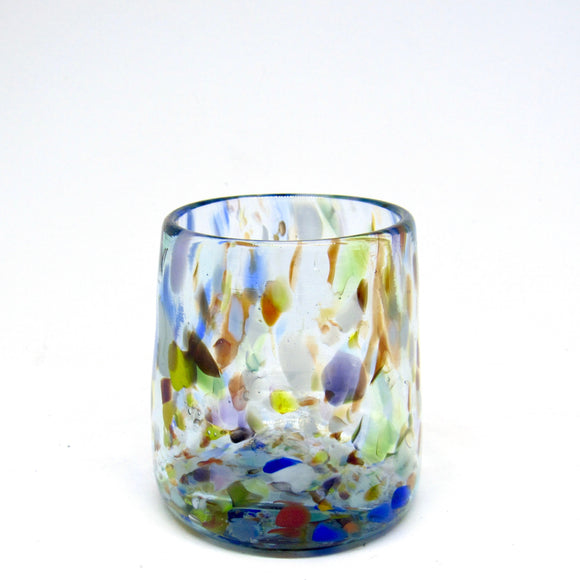 Hand blown drinking glass in rainbow confetti, single cup, made from recycled bottles