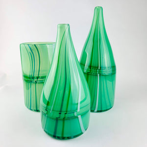 Hand blown glass vase in greens by Rebeccah Byer