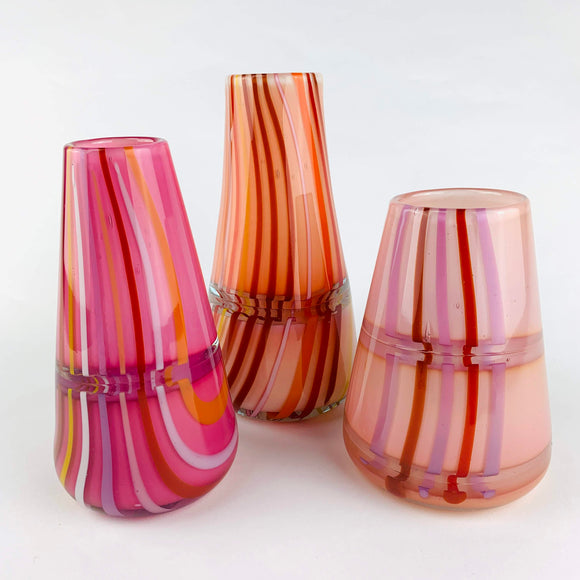 Hand blown glass vase in oranges by Rebeccah Byer