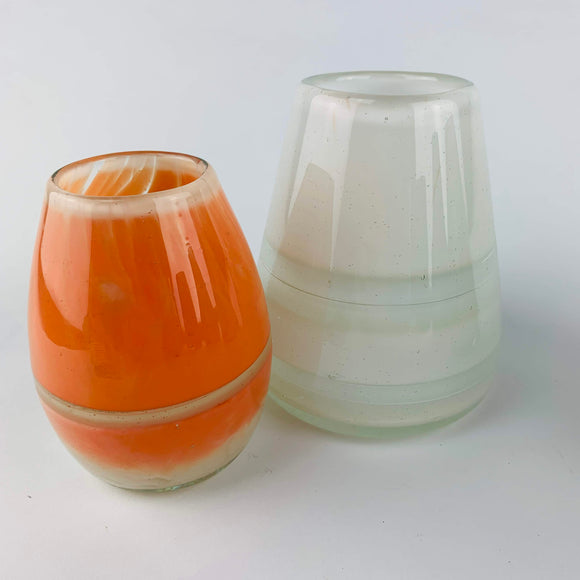 Opaque Interior Ringed Vase in Salmon and White by Rebeccah Byer