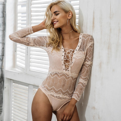 Flavia Lace Long Sleeve Bodysuit