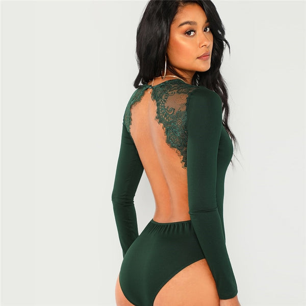 Makayla Backless Green Bodysuit