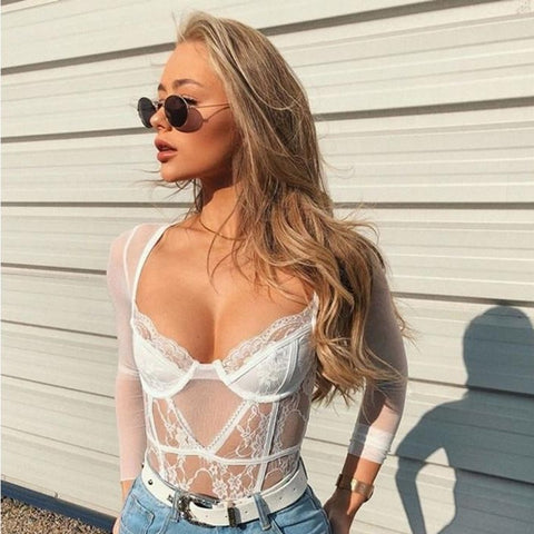 Kenji White Long Sleeve Lace Bodysuit