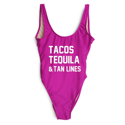 Tacos Tequila & Tan Lines One Piece Swimsuit