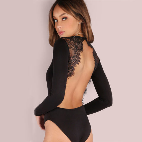 Giana Backless Black Bodysuit