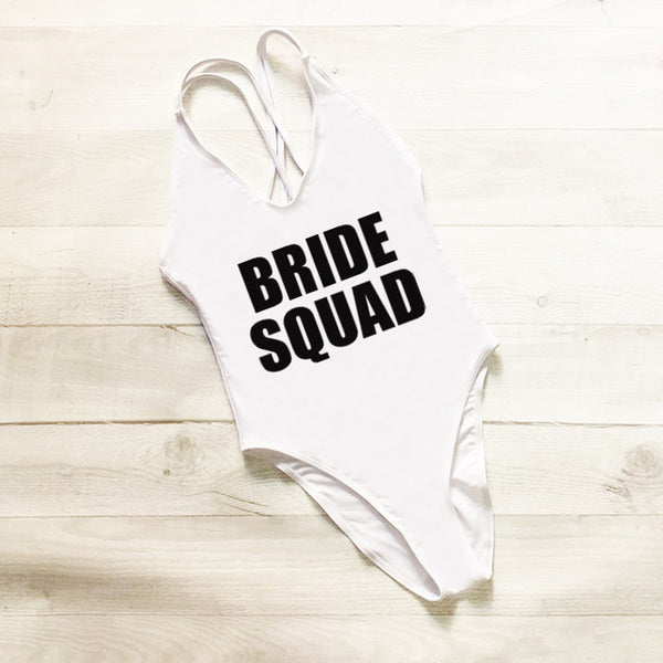 Bride Squad Cross Back Swimsuit