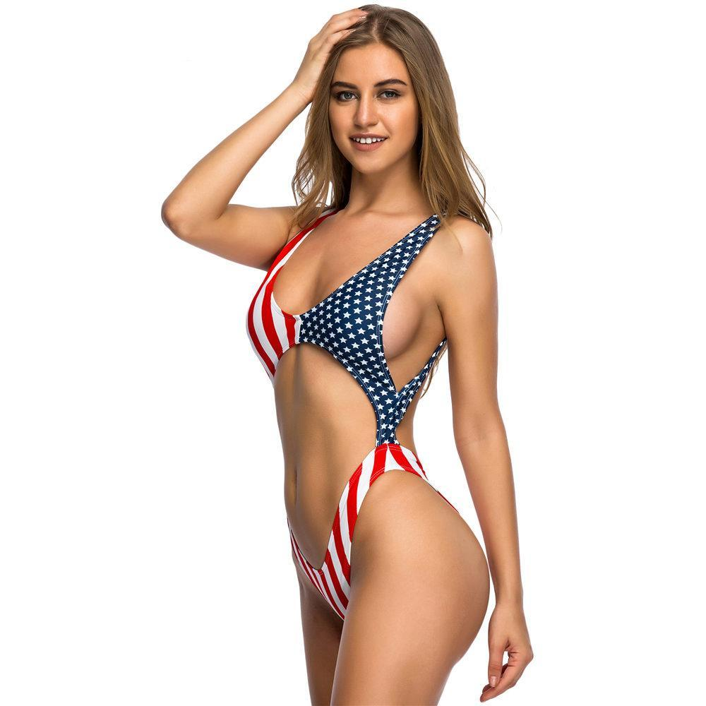 Star Babe Flag Cut Out Swimsuit