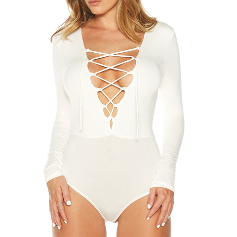 Leah Lace Up White Bodysuit -