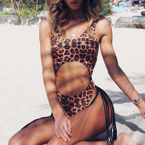 Misha Leopard Cut Out Swimsuit