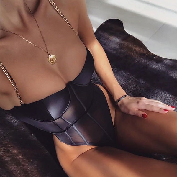 Grace Black Mesh Chain Strap Bodysuit