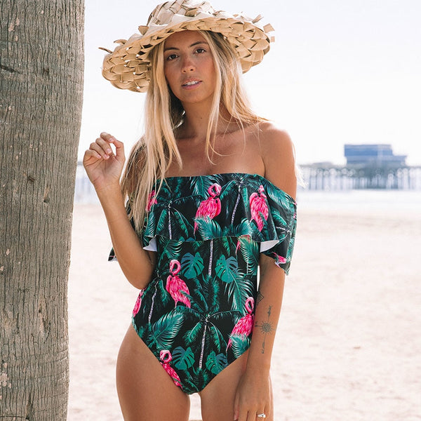 Marielle Off the Shoulder Ruffle Print swimsuit