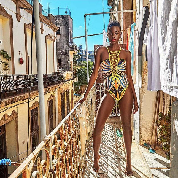 Zina African Style One Piece Swimsuit