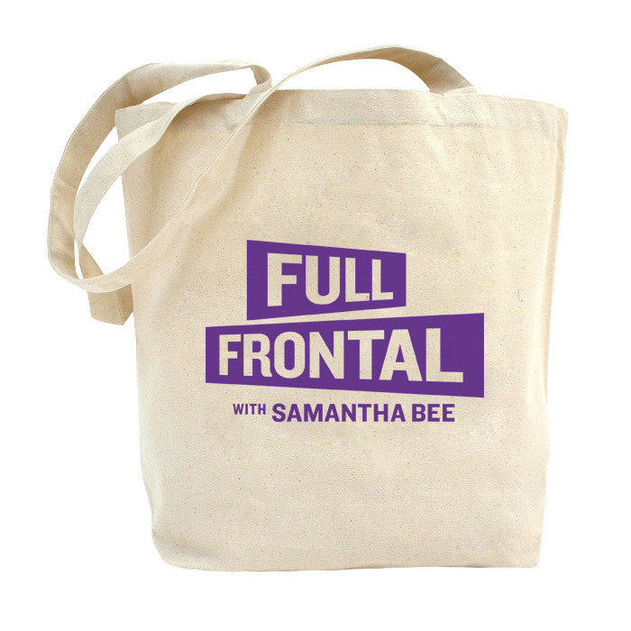 Full Frontal with Samantha Bee Natural Canvas Tote with Purple Logo
