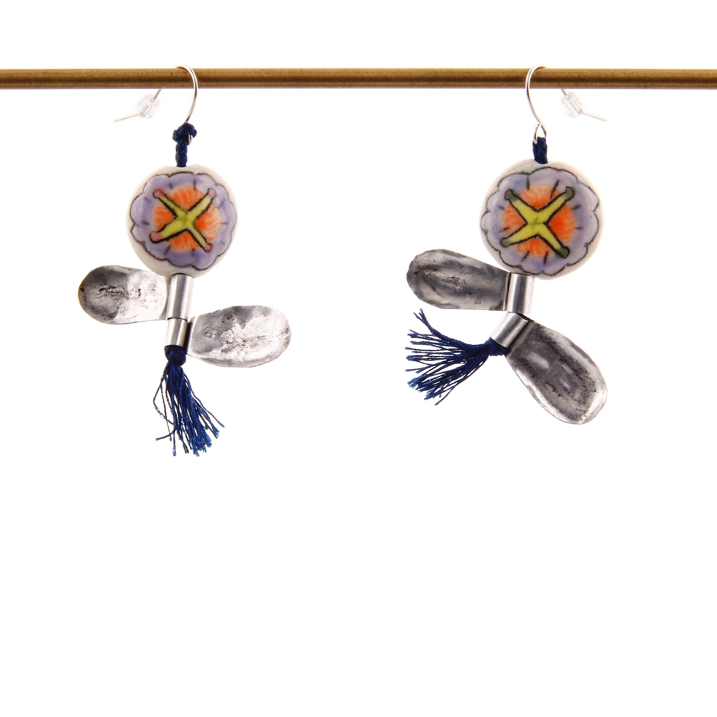 Momoko Usami, Flower Earrings, Ceramics and Metal